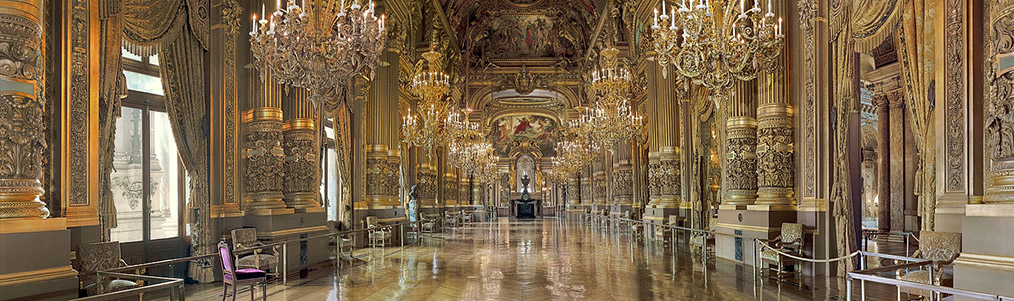 A panorama of the Grand Foyer inside the Opéra Garnier in Paris.