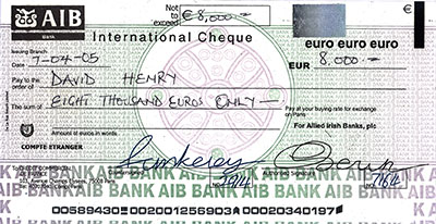 A counterfeit check sent by a scammer.
