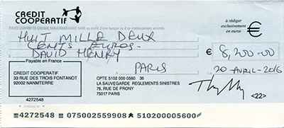Receiving this check on the day it was written is highly suspect. Click to see this check in high resolution.