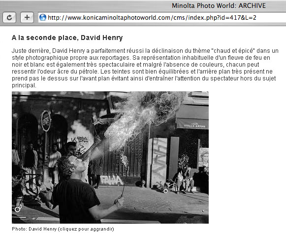"A screen capture from Minolta's web page showing the winners of their ""Hot and Spicy' photography contest"