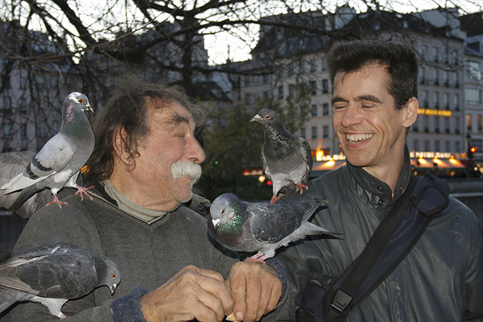 Dozens and dozens of pictures of Pierrot are taken every day in the parvis de Notre-Dame while he feeds pigeons.