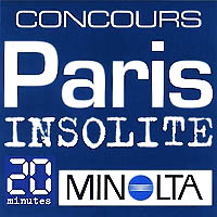 Logos for the sponsors of the «Paris Insolite» photography contest: Réponses Photo, Minolta and 20 Minutes.