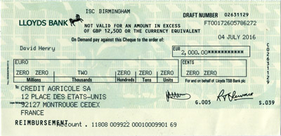 A counterfeit check written for 2,000 euros.